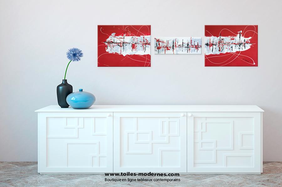 triptyque abstrait rouge rectangle grandes dimensions design tableau moderne xxl en plusieurs. Black Bedroom Furniture Sets. Home Design Ideas