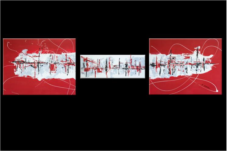 Tableau WONDERFUL TRIP (triptyque rouge) moderne