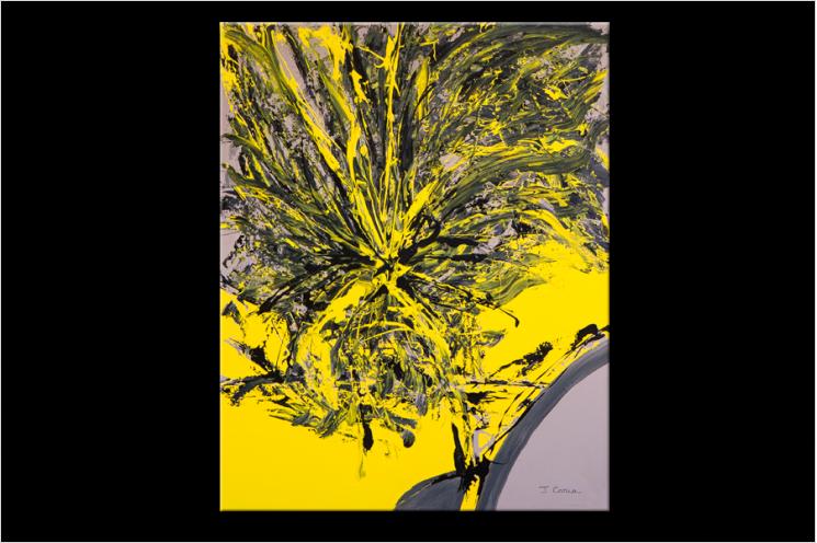 Tableau YELLOW AND BLACK (tableau jaune et noir) moderne