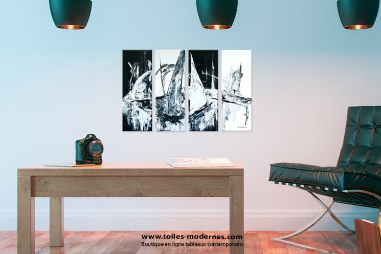 Tableau VISION NOCTURNE (quadriptyque noir et gris) moderne