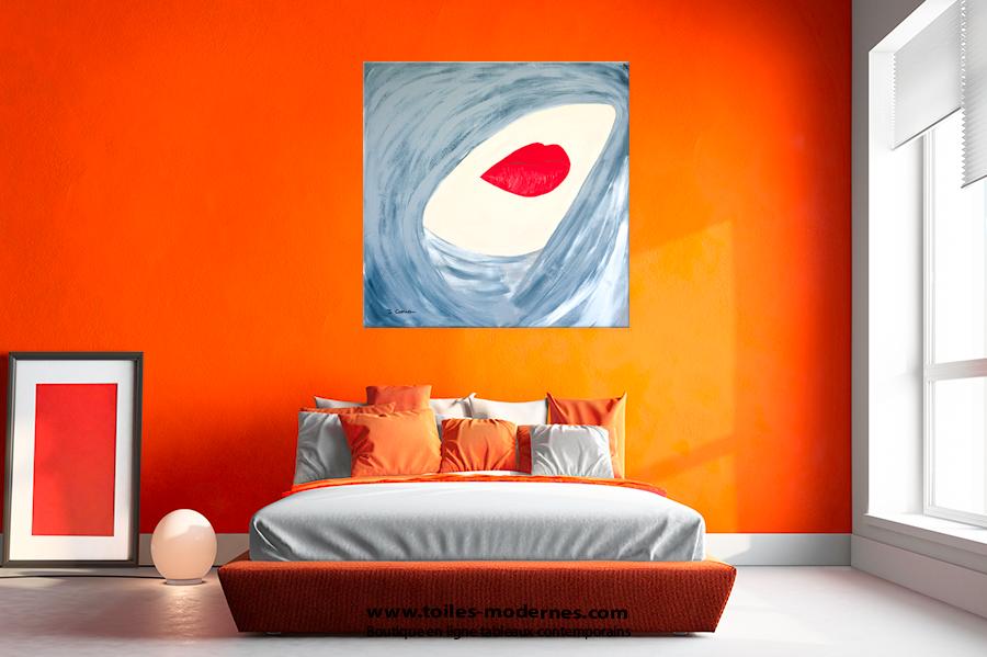 tableau contemporain grand format carr gris unique original. Black Bedroom Furniture Sets. Home Design Ideas