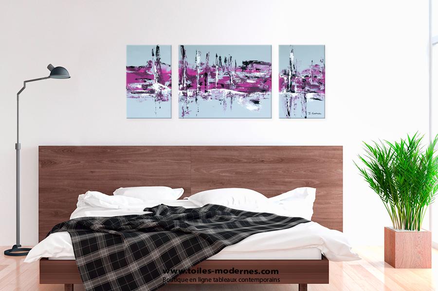 Tableau moderne triptyque abstrait gris violet rectangle - Tableau pour chambre adulte romantique ...