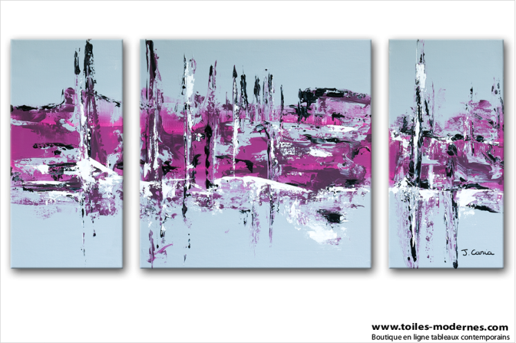 Tableau moderne triptyque abstrait gris violet rectangle for Deco sejour prune