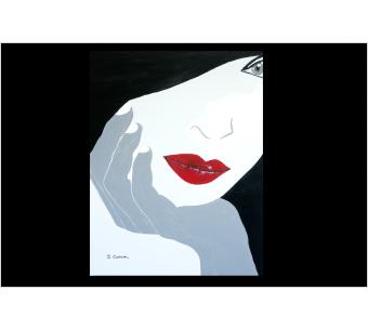 Tableau FEMME PENSIVE (tableau gris) moderne