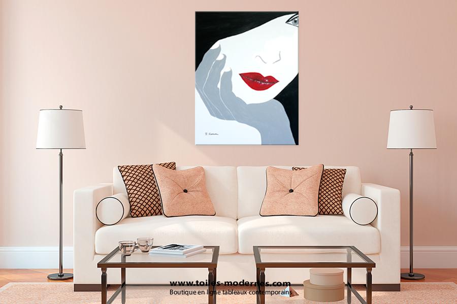 tableau moderne grand format gris. Black Bedroom Furniture Sets. Home Design Ideas