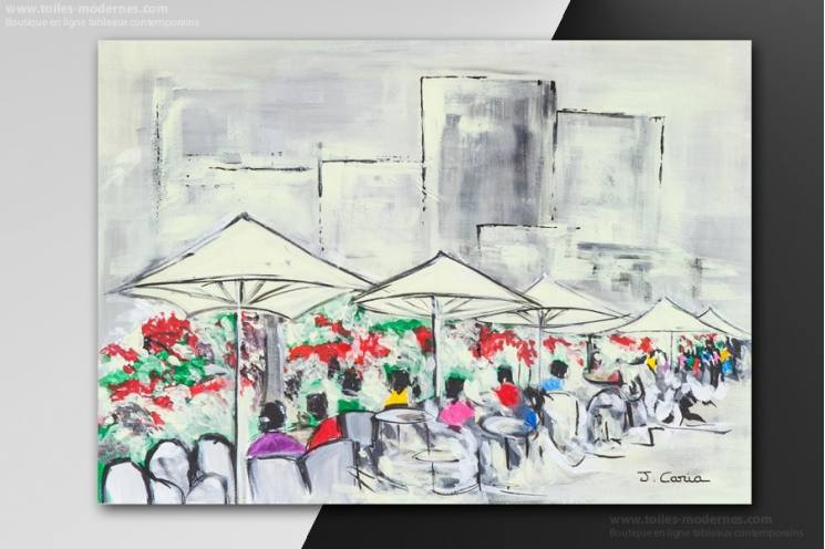 Tableau TERRASSE DU CAFE, A LA VILLE moderne