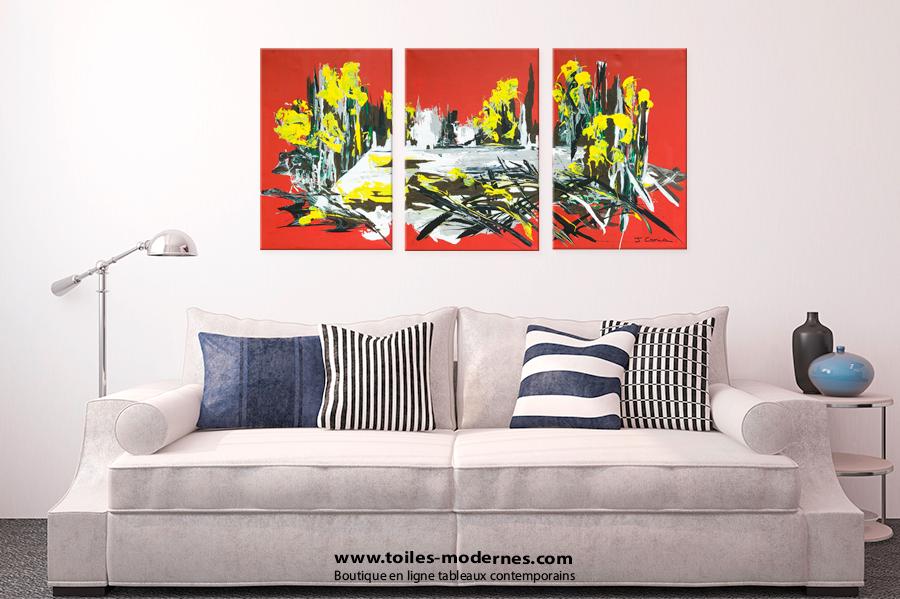 tableau triptyque rouge gris moderne en plusieurs parties rectangle d coration in dite. Black Bedroom Furniture Sets. Home Design Ideas
