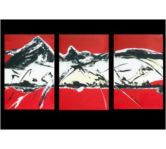 Tableau rouge triptyque abstrait Moutain  moderne