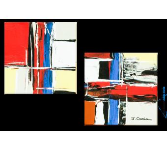 Tableau Vie tonique (diptyque multicolore) moderne