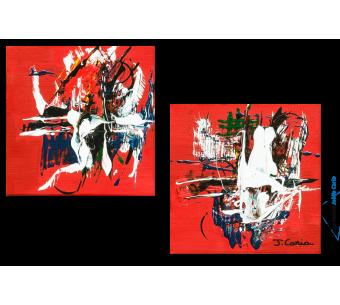 Tableau La danse des flammes (diptyque rouge) moderne
