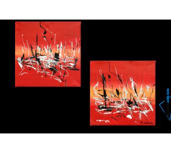 Tableau Energie nouvelle (diptyque rouge) moderne
