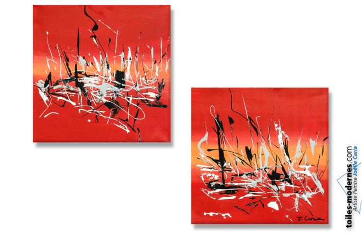 Tableau moderne : Energie nouvelle (diptyque rouge)