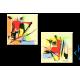 Tableau Moderne : Une vie ensoleillée (diptyque jaune orange)