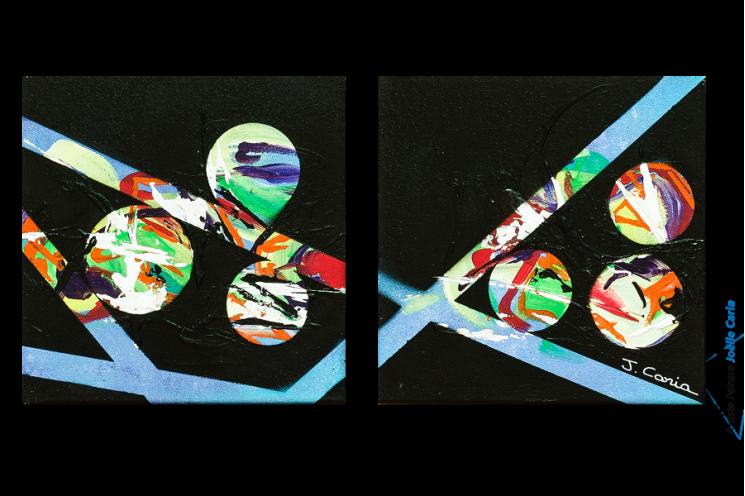 Tableau moderne : Les planètes (diptyque noir)