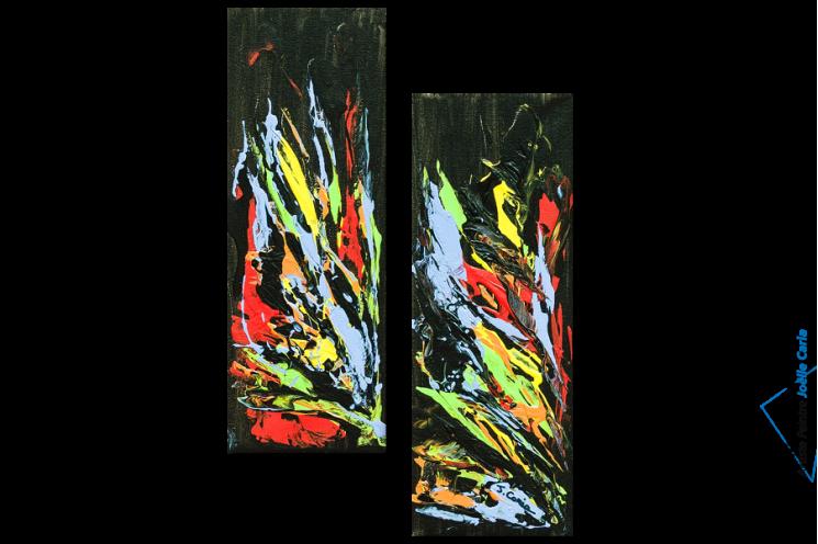 Tableau moderne : Spectacle floral (diptyque noir)