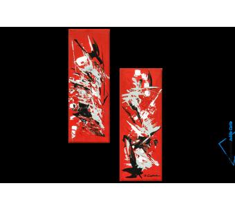Tableau Vol d'oiseaux (diptyque rouge) moderne