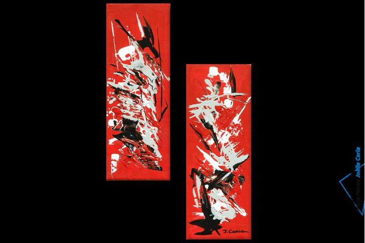 Tableau Abstrait : Vol d'oiseaux (diptyque rouge)