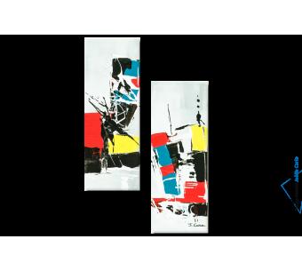 Tableau Constructions (diptyque coloré) moderne