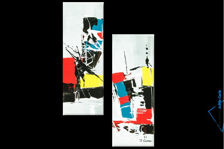 Tableau moderne : Constructions (diptyque coloré)
