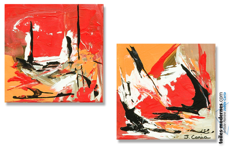 Tableau Voiliers (diptyque rouge)