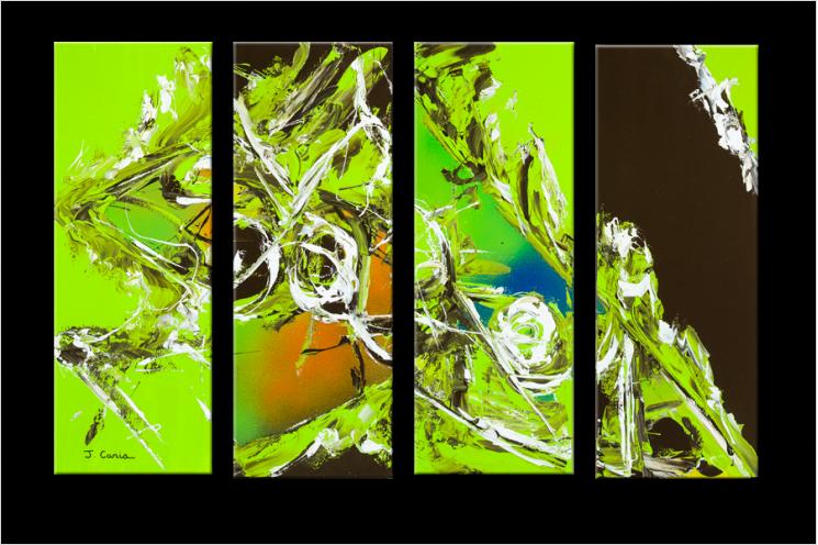 Tableau quadriptyque moderne NEW EARTH (quadriptyque vert)