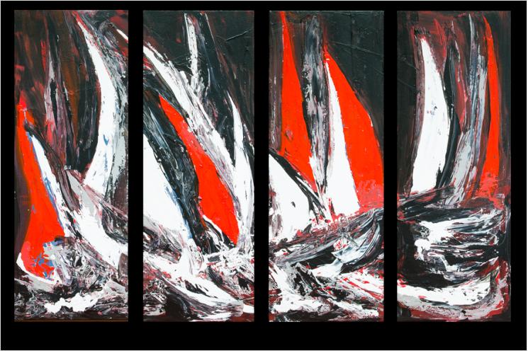 tableaux contemporains Voiliers en mer (quadriptyque noir rouge)