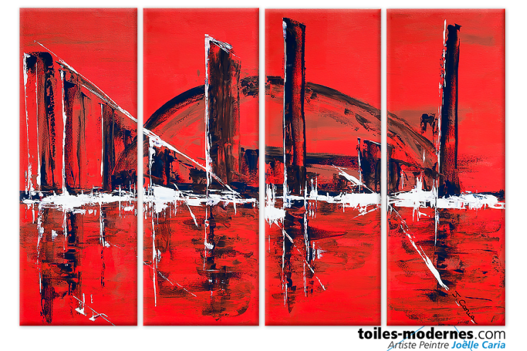Tableau contemporainThe big city (quadriptyque rouge)