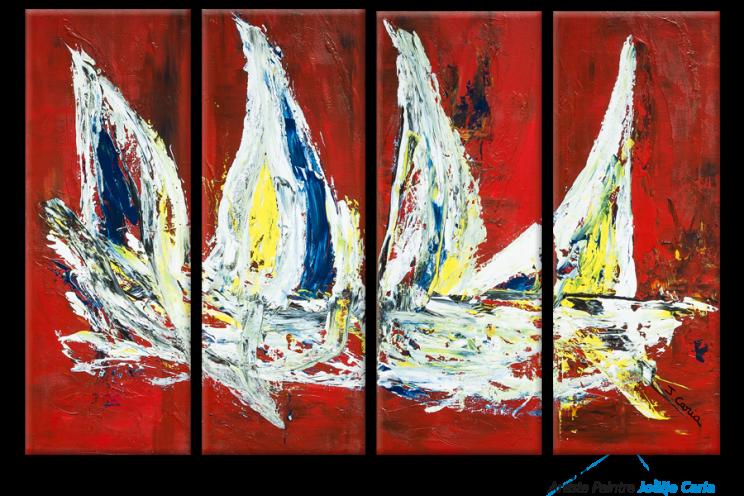 Tableau déco design Raging sea (quadriptyque rouge)