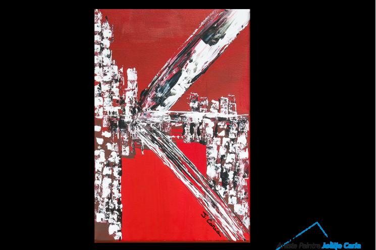 Tableau contemporain city (tableau rouge et noir)