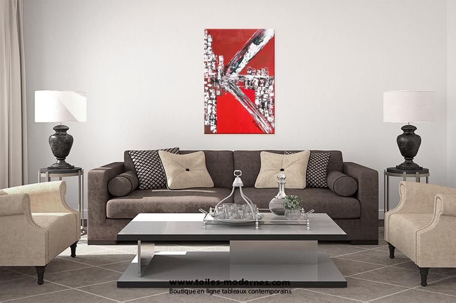 Tableau abstrait rouge à acheter sur toiles modernes