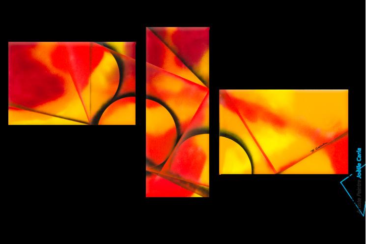 Tableau Triptyque Orange Chaleur intense décoration moderne