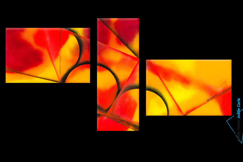 Triptyque orange rouge et jaune chaleur intense acheter - Tableau triptyque pas cher ...