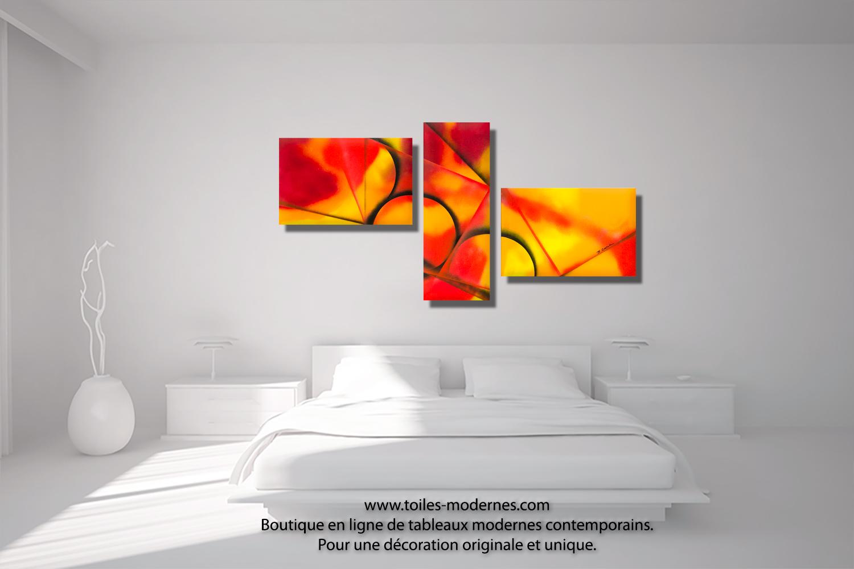Triptyque orange rouge et jaune chaleur intense acheter - Tableau colore design ...