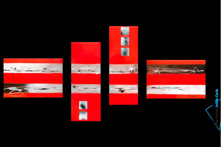 Tableau Quadriptyque rouge La fête de la musique pour une déco murale tendance