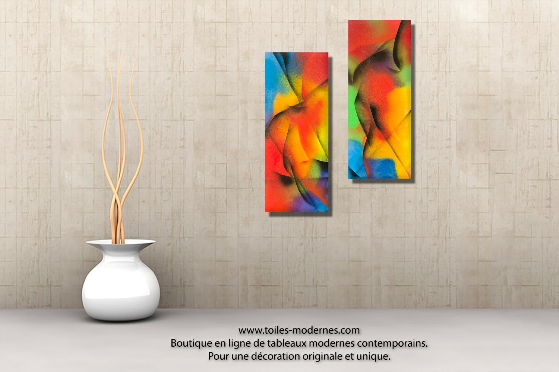 Tableau diptyque aux couleurs vives une belle r ussite d co d 39 art moderne - Tableau colore design ...