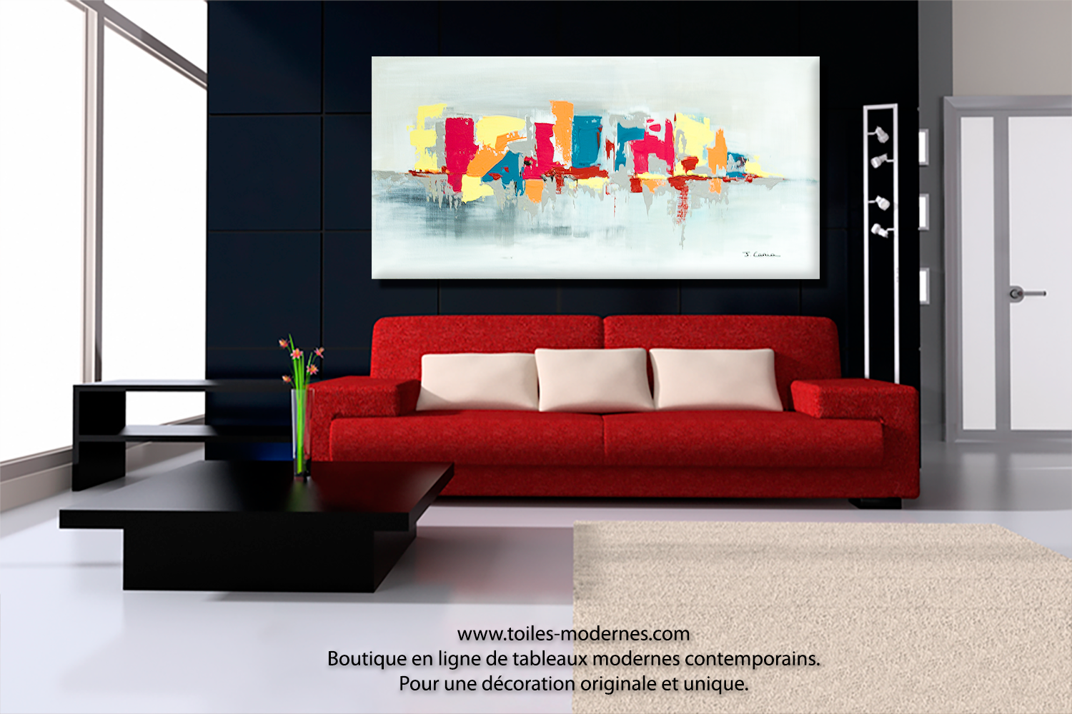 peinture moderne pour salon maison design. Black Bedroom Furniture Sets. Home Design Ideas