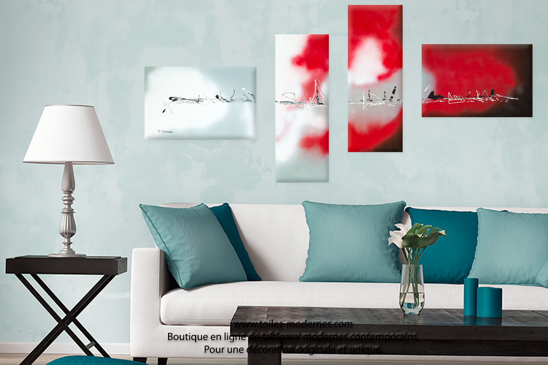 Tableau quadriptyque blanc noir rouge grandes dimensions horizontal accord pa - Tableau gris et blanc ...
