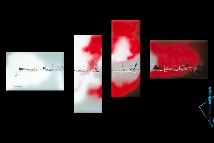 Tableau quadriptyque déco noire rouge Accord parfait