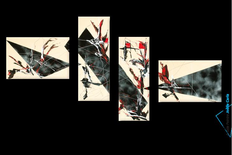 Tableau moderne Quadriptyque beige noir Drôles d'oiseaux