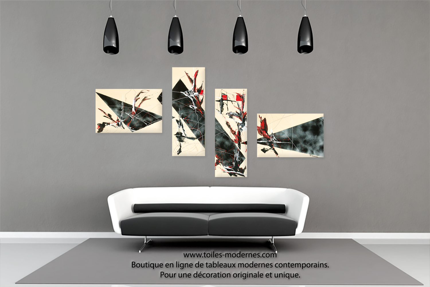 tableau quadripyque d co beige et noire ultra design dimensions importantes peinture d 39 art moderne. Black Bedroom Furniture Sets. Home Design Ideas