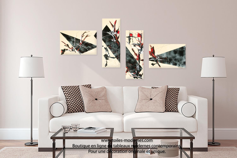 Cadre Au Dessus Du Canapé tableau quadripyque déco beige et noire ultra design