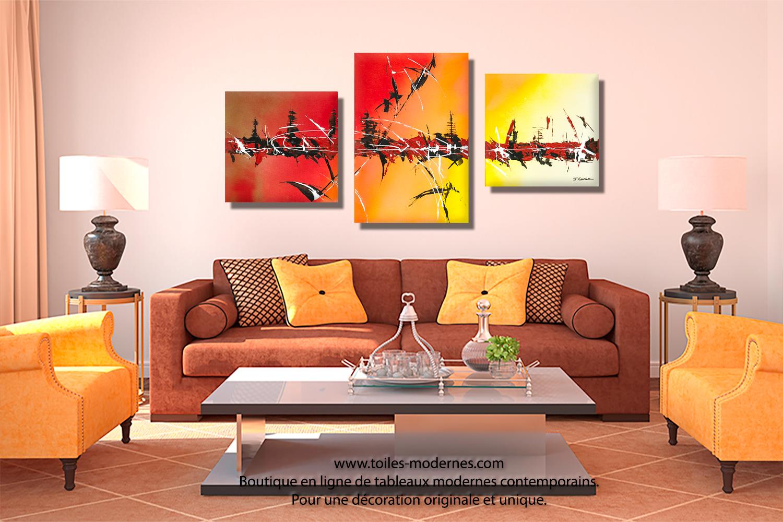 tableau triptyque d coration noire jaune collection. Black Bedroom Furniture Sets. Home Design Ideas