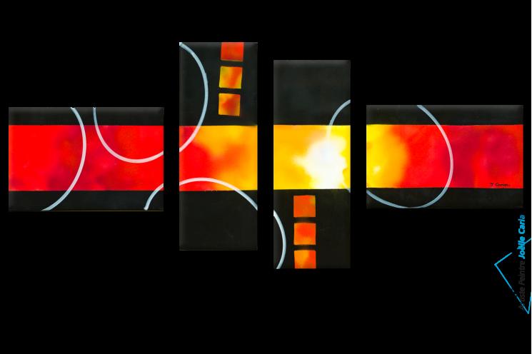 tableau décoration moderne noir rouge Un soleil éclatant