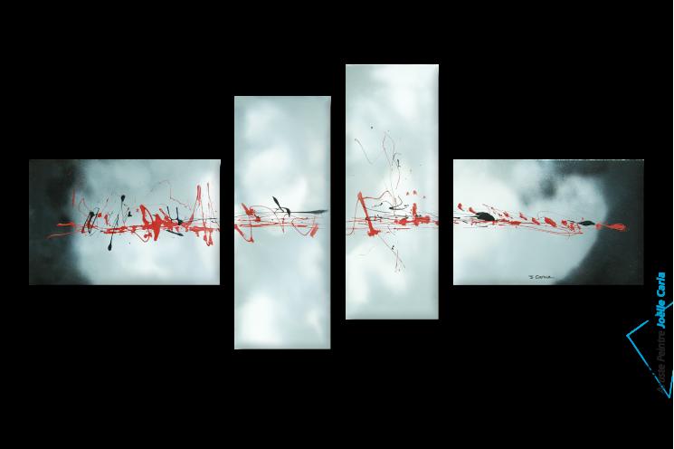 tableau abstrait quadriptyque blanc gris Evasion célestre
