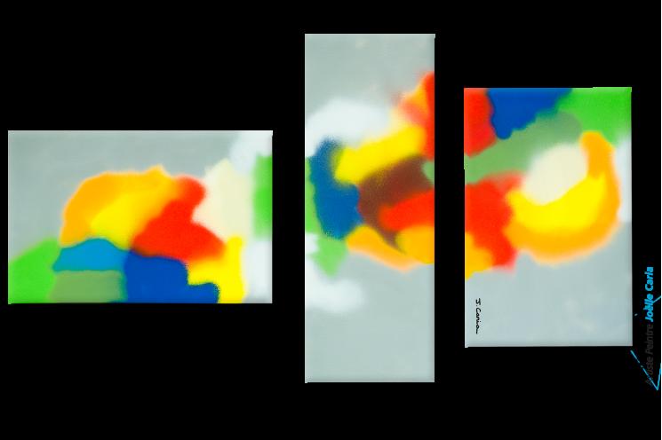 Tableau contemporain Triptyque gris Une planète colorée