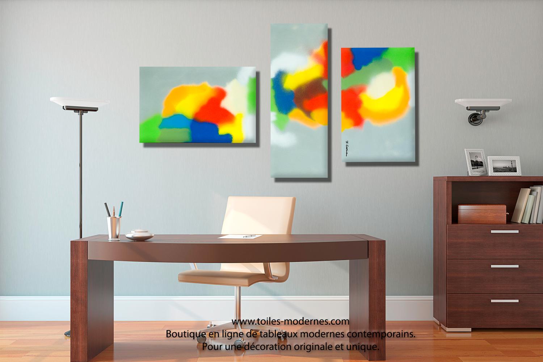 tableau triptyque d co murale design panoramique pour salon chambre entreprise une plan te color e. Black Bedroom Furniture Sets. Home Design Ideas