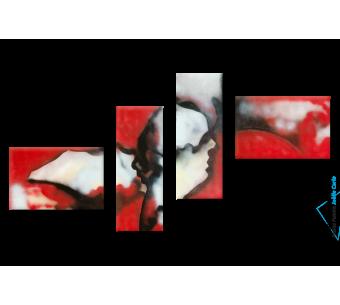 Tableau Quadriptyque noir rouge Visages du monde moderne