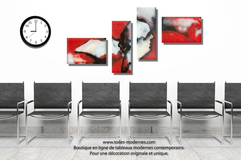 tableau rouge et noir quadriptyque abstrait visages du. Black Bedroom Furniture Sets. Home Design Ideas