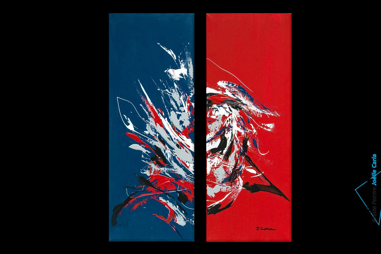 tableau d 39 art moderne triptyque rouge bleu le grand festival format portrait peinture acrylique. Black Bedroom Furniture Sets. Home Design Ideas