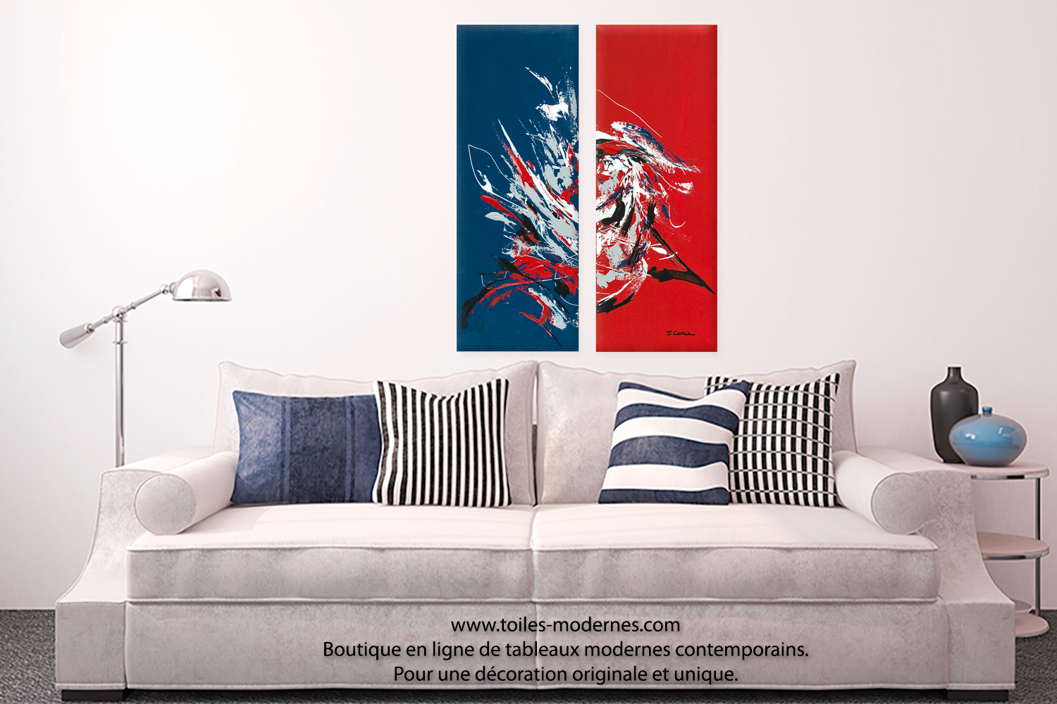 tableau d 39 art moderne triptyque rouge bleu le grand festival format portrait peinture acrylique. Black Bedroom Furniture Sets. Home Design Ideas